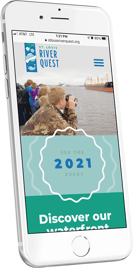 An iPhone with the St. Louis RiverQuest homepage